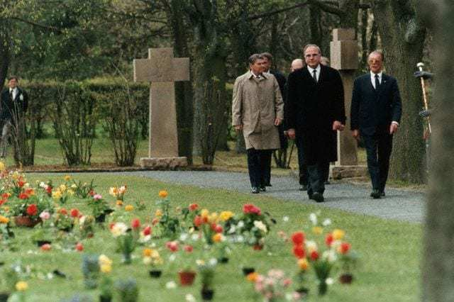 May 5, 1985 - President Ronald Reagan visits Bitburg Cemetery in West Germany with Chancellor Helmut Kohl. - Image by © CORBIS